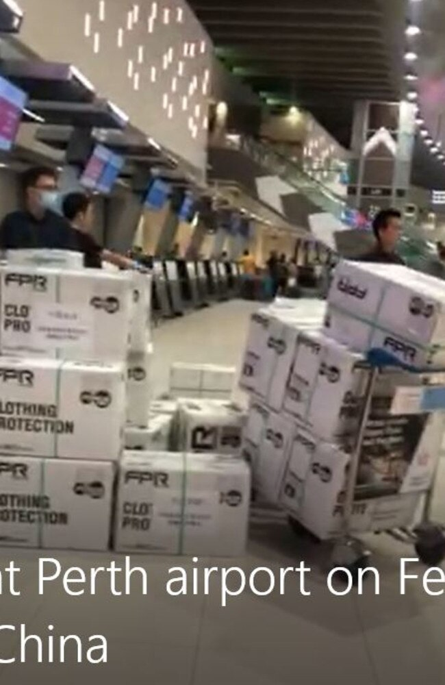 Dozens of boxes of surgical masks at Perth Airport on February 8 being assembled to airfreight off to China.