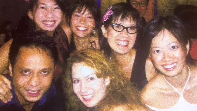 Jaki with friends in Singapore.