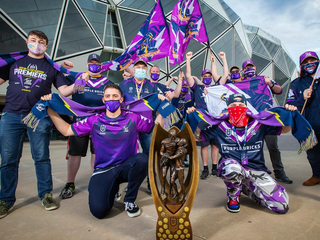 Where the NRL grand final trophy will be awarded is anyone's guess. Picture: Mark Stewart
