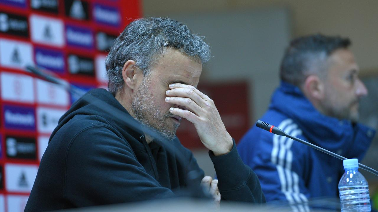 An ugly political stoush threatens to overshadow Spain's clash with Kosovo. Pictured is Spain coach Luis Enrique.