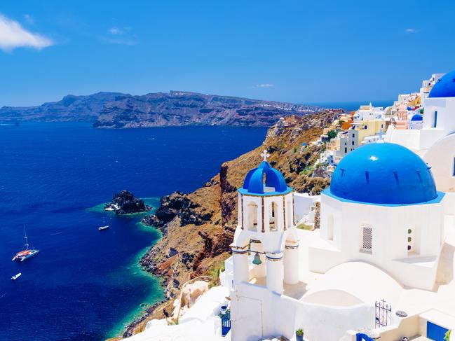1. SANTORINI: One of the Med's great spectacles is approaching Santorini by sea, as any vessel sailing into the volcano's flooded caldera appears Lilliputian below its 300m cliffs. The majestic setting is superlatively romantic, though the beaches are volcanic and black sand, which are less so. MAIN SIGHTS: Enjoy the sunset-watching ritual from your balcony, a restaurant terrace or scooter to join a mellow throng in the precipitous village of Oia. The capital Thira's whitewashed buildings hug the lip of the caldera like cake icing and, although somewhat pricey, there's a vibrant art scene, excellent boutique hotels and fine restaurants serving the island's home-produced fresh and dry white wines. For the best inter-island ferry system in and around the Greek Islands see go-ferry.com.