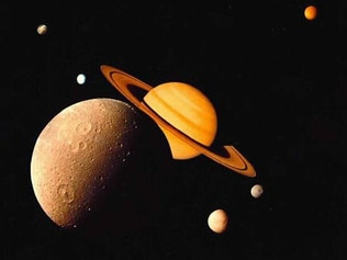 A MONTAGE of planet Saturn and some of its moons. planets space astronomy
