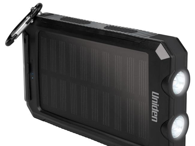 PORTABLE SOLAR POWER BANK, $49.95 FROM UNIDEN With a double LED light and built-in compass, this water-resistant solar power bank is excellent for those who love the great outdoors but still want to keep their smart phone or tablet juiced. Picture: Uniden