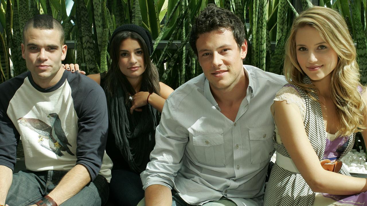 Los miembros del reparto de Glee Salling, Lea Michele, Cory Monteith y Dianna Agron.