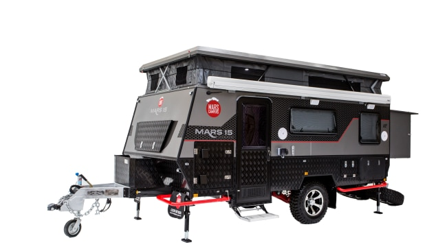 2/15The camper of your dreams No longer do you have to choose between offloading and luxury. The Mars 15 Deluxe Offroad Hybrid Caravan basically doubles as a mini resort on wheels complete with king-size bed, en suite and air-conditioning. And it's all yours for $56,990.