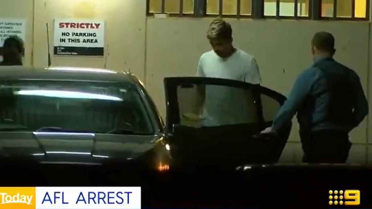 Sydney Swans player Elijah Taylor has been arrested and charged in Perth. Picture: 9 News