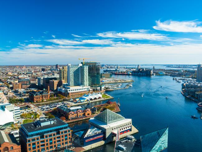 BALTIMORE, MARYLAND Though only 64km from Washington, DC, Baltimore boasts a culture very much its own. The port city in Maryland is known for its crabs, historic monuments and its National Aquarium. Main sightseeing spots are Inner Harbor and Mount Vernon, one-time home of George Washington.
