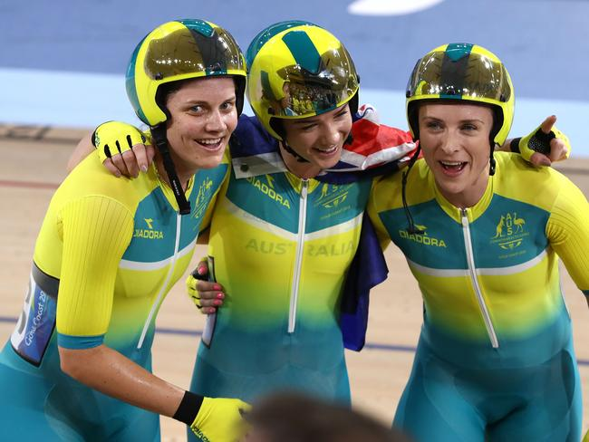 Amy Cure of Australia celebrates with teammates Annette Edmondson and Ashlee Ankudinoff. Picture: Robert Cianflone/Getty Images