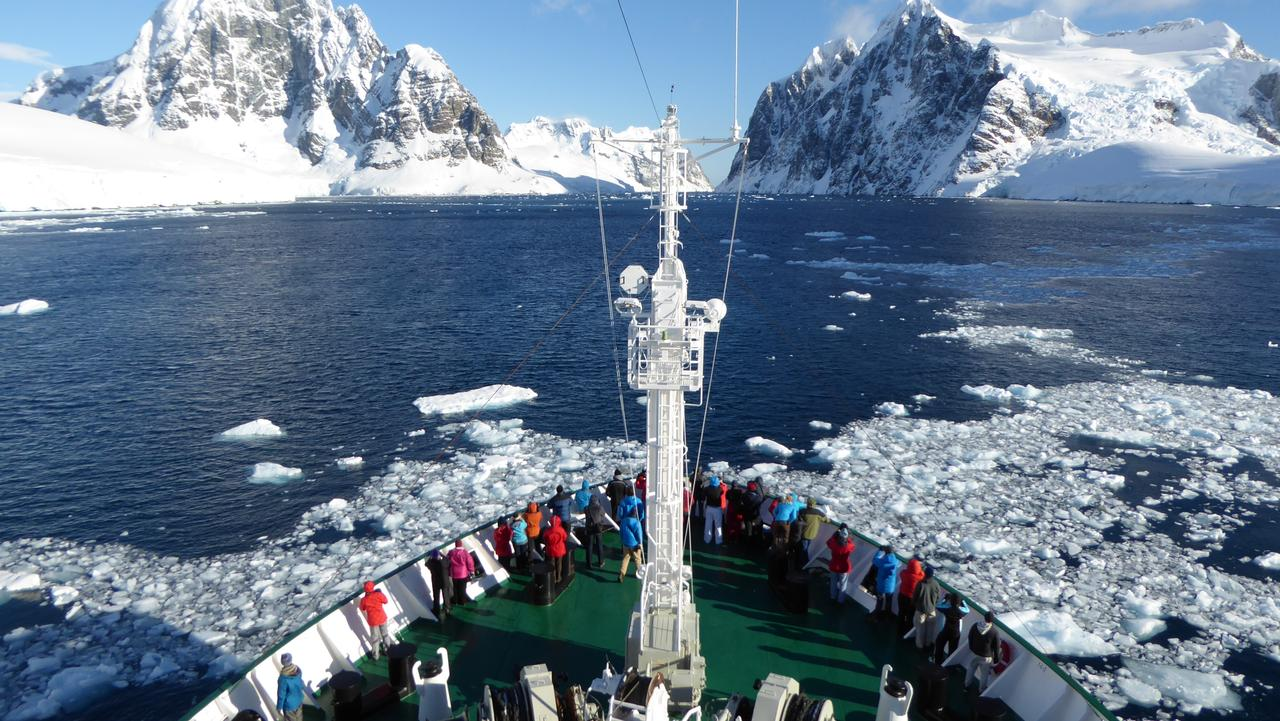 Bow of Akademik Ioffe cruising the Lemaire Channel. Picture: Angela Saurine