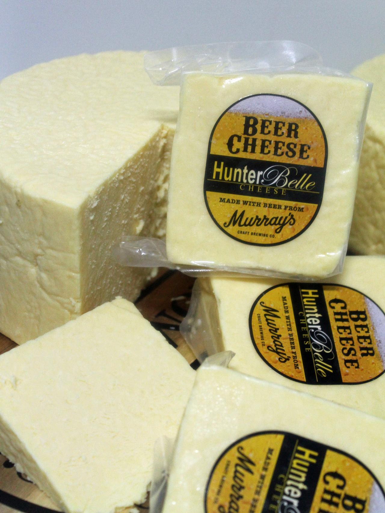 Beer cheddar, one of the popular favourites at Hunter Belle Cheese.