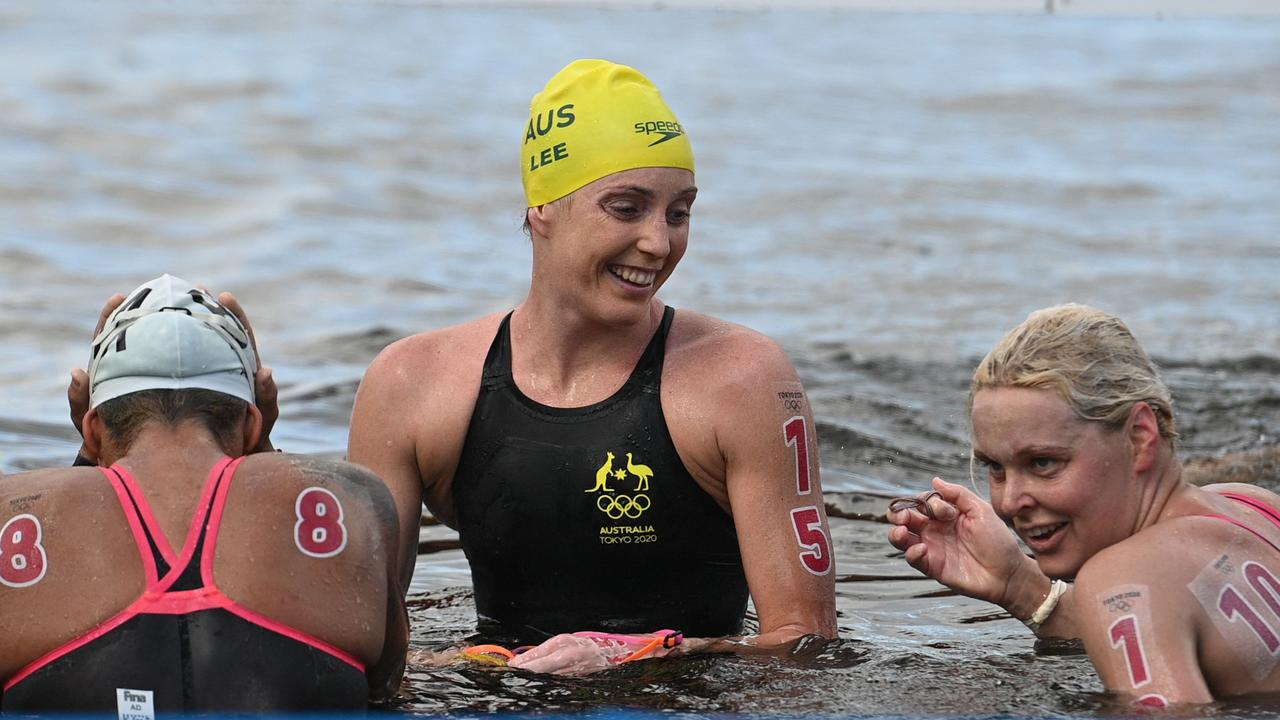 Australia's Kareena Lee took bronze after being mauled by a fish. Picture: Oli Scarff / AFP