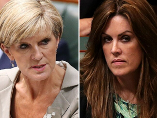 Julie Bishop and Peta Credlin had a fractured relationship in the final days of the Abbott government. Picture: Getty Images and News Limited