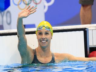Emma McKeon wins Gold during the finals of the Womens 50m Freestyle at the Tokyo Aquatic Centre during the 2020 Tokyo Olympics.  Pics Adam Head