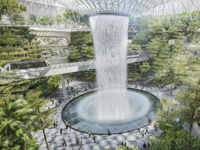 The Jewel Changi Airport complex, due for completion in 2019, will house a 40m-high rain vortex