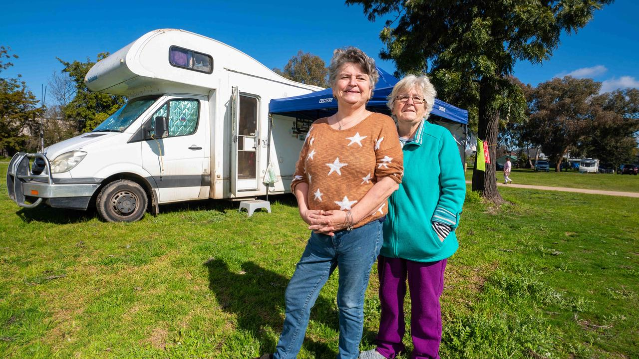 Wendy Squires and Denise Garbutt at a pop-up camp of displaced Victorians. Picture: Simon Dallinger