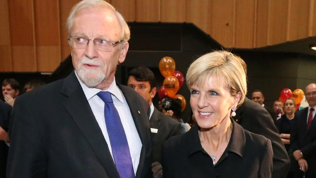 Former foreign minister and ANU Chancellor Gareth Evans, pictured with Minister for Foreign Affairs Julie Bishop, thinks Australia should go further.