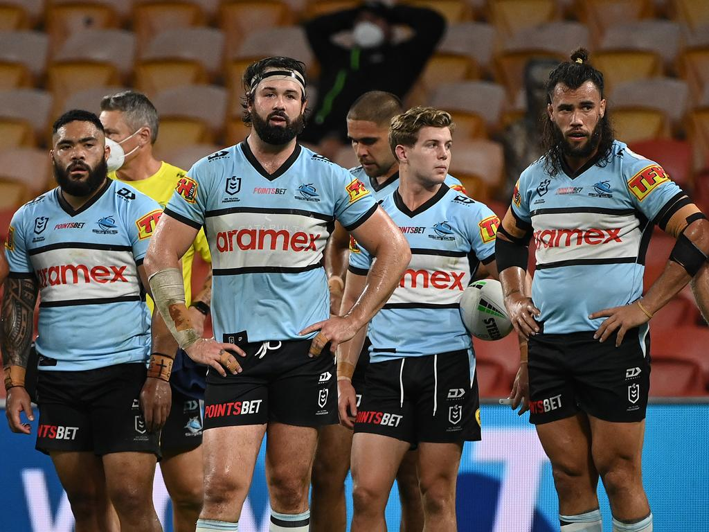 The Sharks are holding on to a spot in the top eight by the skin of their teeth. Image: Grant Trouville/NRL Images