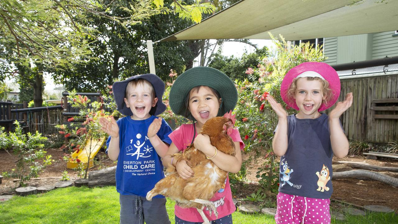 Everton Park Child Care and Development centre is one of the few centre's in Queensland to be rated 'excellent'. Dexter Eager, Athena Retimana and Sophie Sligo. Picture: Renae Droop