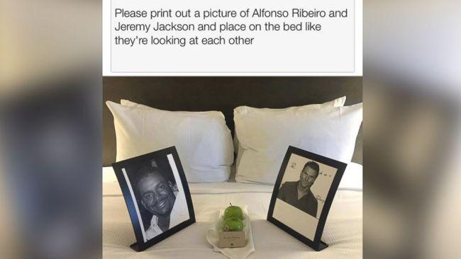 "... on this particular occasion he wrote ""please print out a picture of Alfonso Ribeiro (from the Fresh Prince of Bel-Air) and Jeremy Jackson (from Baywatch) and place on the bed like they are looking at each other."" Picture: Imgur"