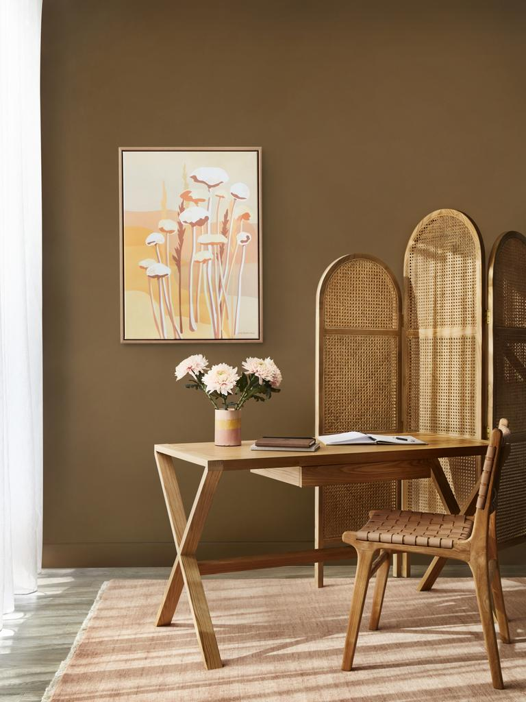 Gold, such as Morocco Tan, can create warmth. Picture: Armelle Habib/Dulux Australia colour forecast 2021