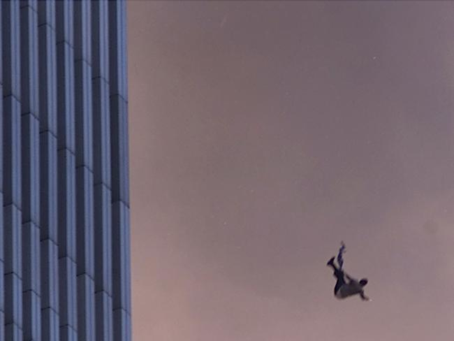 A person falls to his death from the World Trade Center after two planes hit the twin towers. Picture: Jose Jimenez/Primera Hora/Getty Images