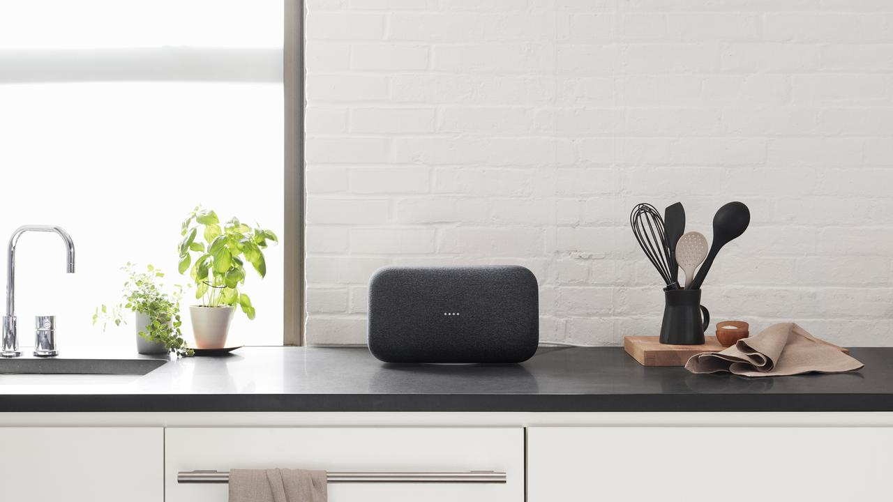 The Google Home Max can also be situated vertically to save space.