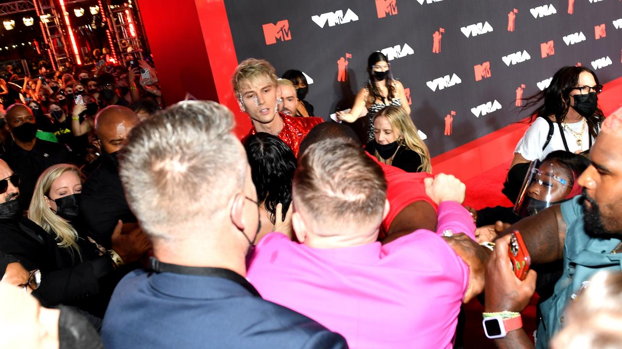 Machine Gun Kelly (centre top) and Conor McGregor (centre bottom) at the 2021 MTV Video Music Awards. Picture: Noam Galai/Getty Images for MTV/ViacomCBS