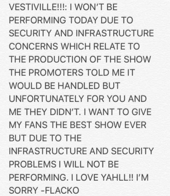 A$AP Rocky said he was pulling out of the event use to security concerns. Picture: asvpxrocky/Twitter