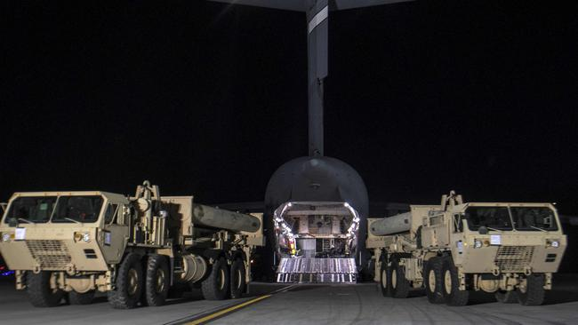 """The first part of the THAAD missile system arrives in South Korea on March 7. The US says the system is """"strictly defensive"""" but its arrival angered China and Russia. Picture: AFP/US FORCES KOREA"""