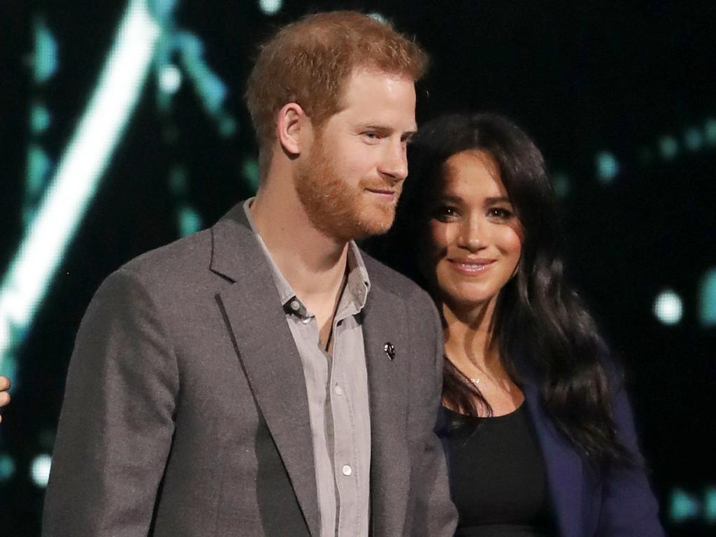Meghan and Harry onstage at WE Day UK. Picture: Matt Dunham/AP