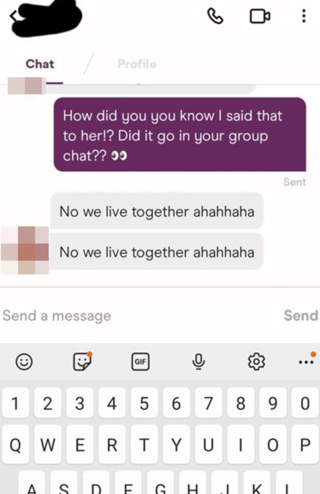He had sent the same message to two women, not realising they live together. Picture: Twitter