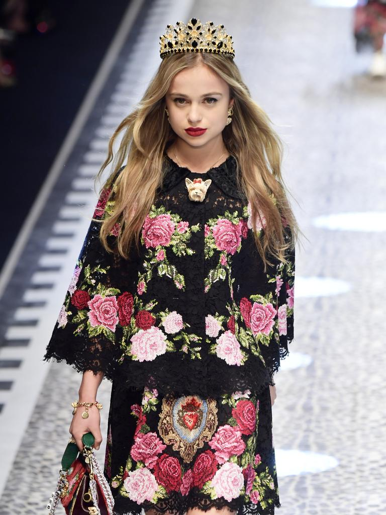 Lady Amelia Windsor walks the runway at a Dolce & Gabbana fashion show in Milan, Italy. Picture: Victor Boyko/Getty Images