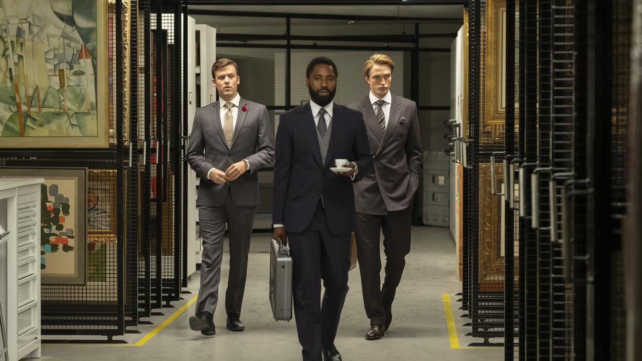 Jack Cutmore-Scott, John David Washington and Robert Pattinson in Tenet.