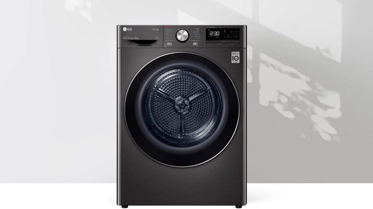 With a 9-star energy rating, allergen-eliminating technology and smart capabilities, this sleek model from LG is our pick for best premium clothes dryer. Image: LG.