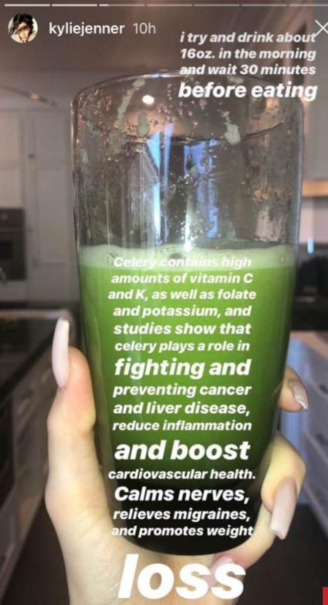 She's a dedicated celery juice drinker.