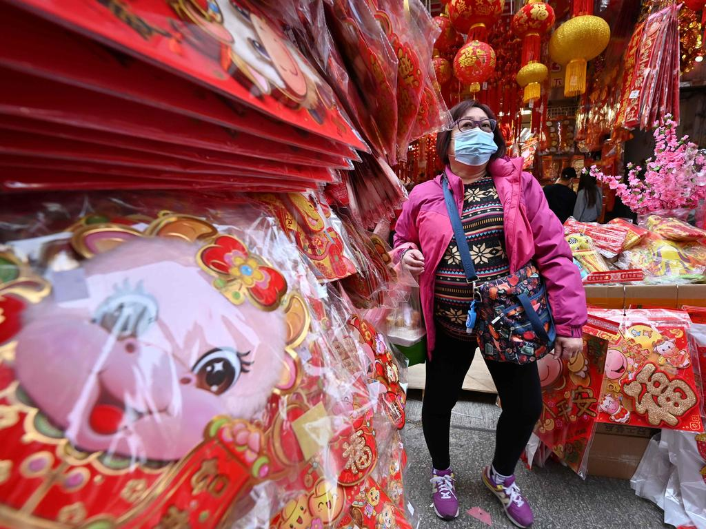 A market offering Lunar New Year decorations and treats in Hong Kong. Picture: Peter Parks/AFP