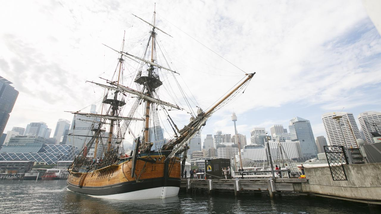 Endeavour, a replica of Captain Cook's ship of the same name, docked at the Australian Maritime Museum at Darling Harbour, Sydney, NSW. Picture: Tim Pascoe