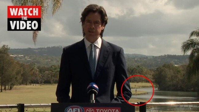 Persistent golfer behind Gil McLachlan steals show at AFL announcement
