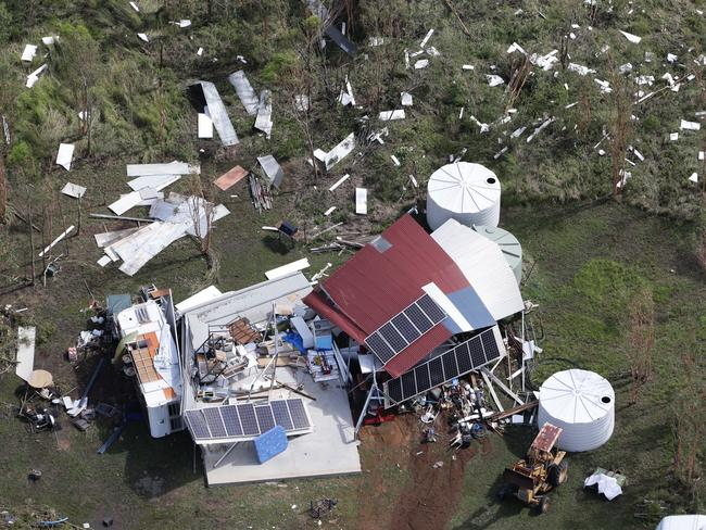 The aftermath of the category five Cyclone Marcia in 2014. This house near Rockhampton was destroyed. Picture: Peter Wallis
