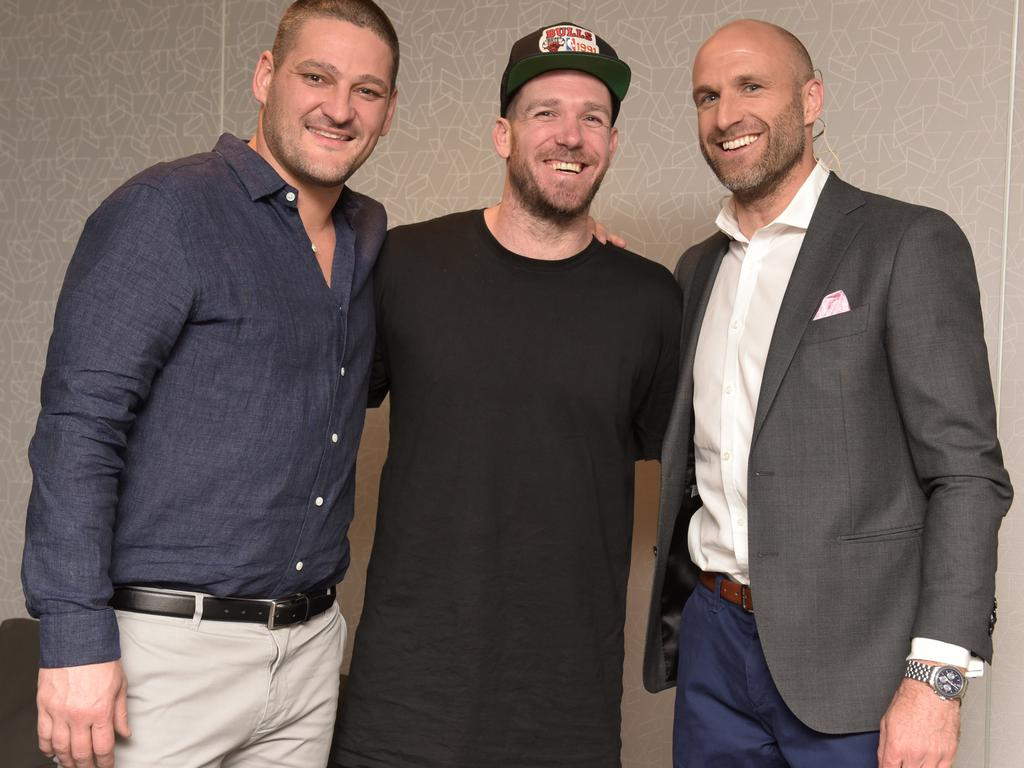Brendan Fevola, Dane Swan and Chris Judd at the Grand Final Footy Show 2018. Channel 9