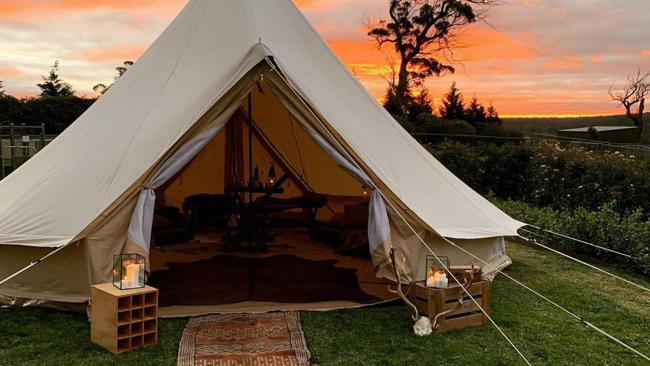 "Me Jane CampoutBowral, NSW Do you want to go glamping or would you like a slice of 'primalhttps://mejanecampout.com/pop-up-tents/"">Me Jane Campout, located in New South Wales' Southern Highlands, specialises in the later. You can either hire a tent for your own piece of paradise within the Bowral area or you can opt to set up around the grounds of Cuttaway Hill Wines vineyard. Basic bare tents available, but it's difficult to go past the Primal Luxury package which includes furniture, décor and little luxuries such as woollen throws and designer rugs. Picture: Instagram/@mejanecampout"