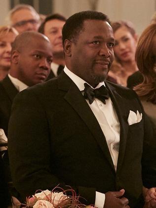 Pierce as her father, Robert Zane. Picture: Ian Watson/USA Network