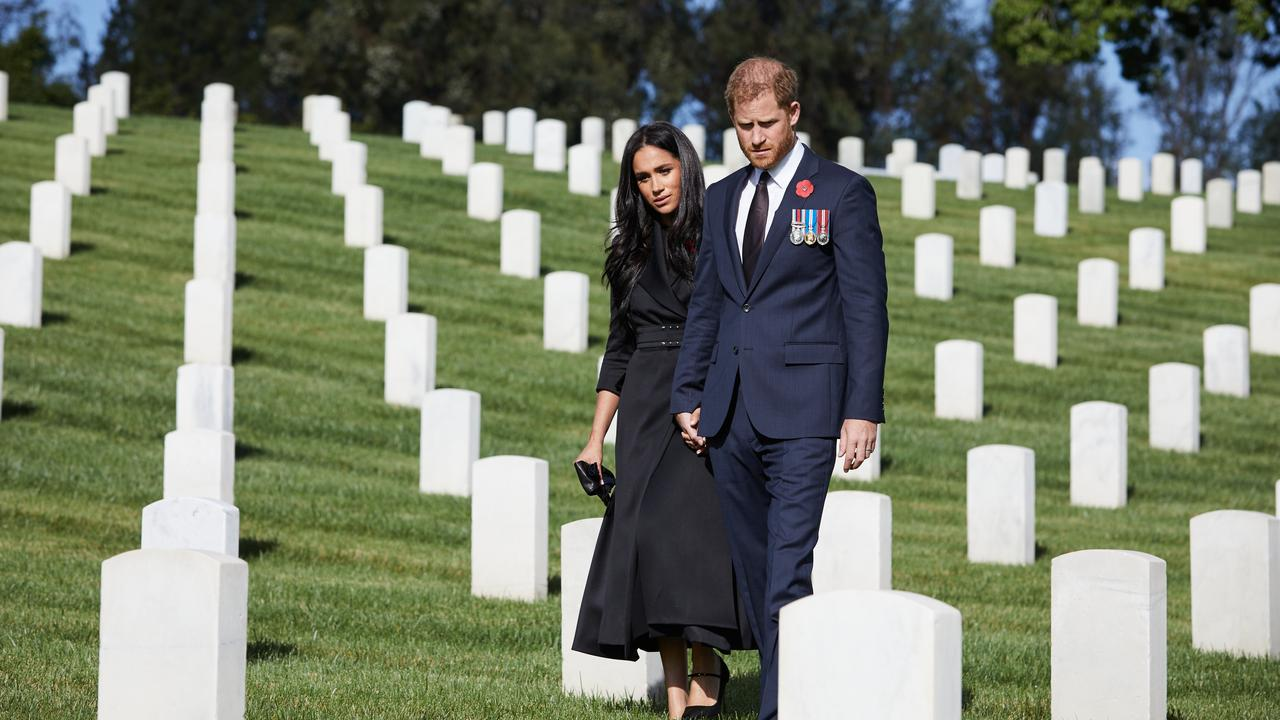 Meghan and Harry brought along their own photographer as they paid respect on Remembrance Day. Picture: Lee Morgan/Handout via Getty Images.