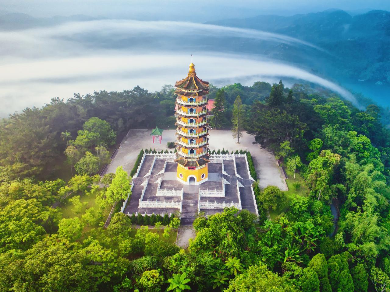 Pa Cien Pagoda with Sun Moon Lake, Nantou, Taiwan
