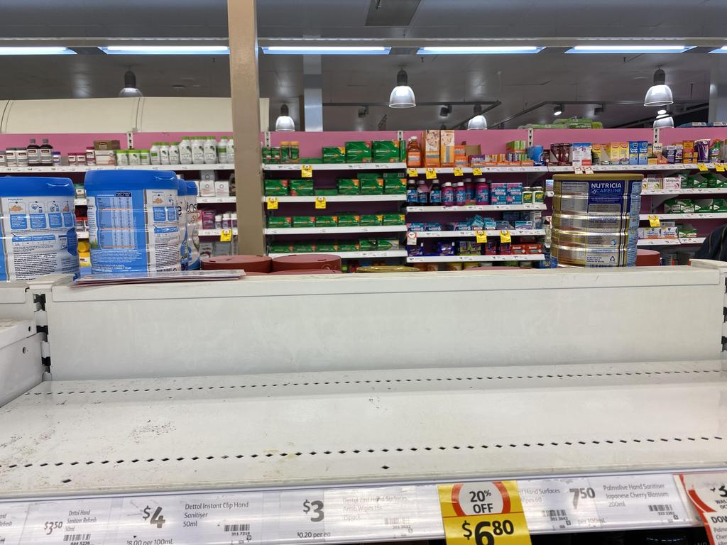 Baby food and products are sold out in a number of supermarkets as coronavirus panic hits Australia. Picture: Supplied