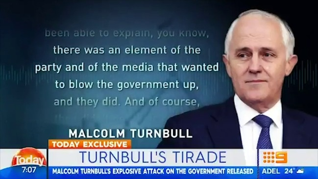 Turnbull slams government in secret audio (TODAY)