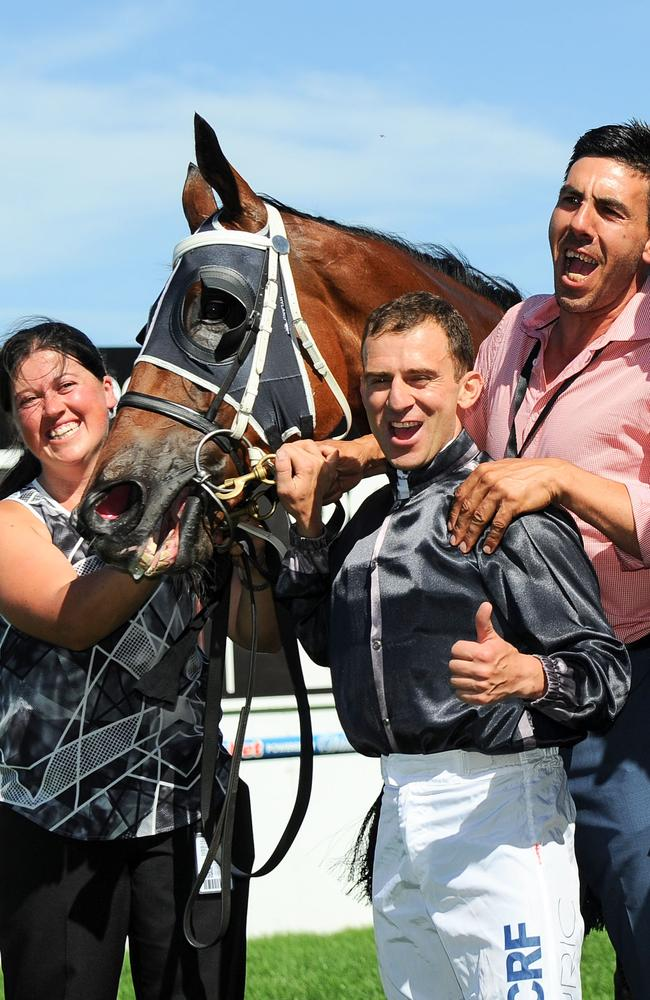 Peter Gelagotis poses with Vlad Duric after Mourinho won the Australia Stakes. Picture: Getty Images