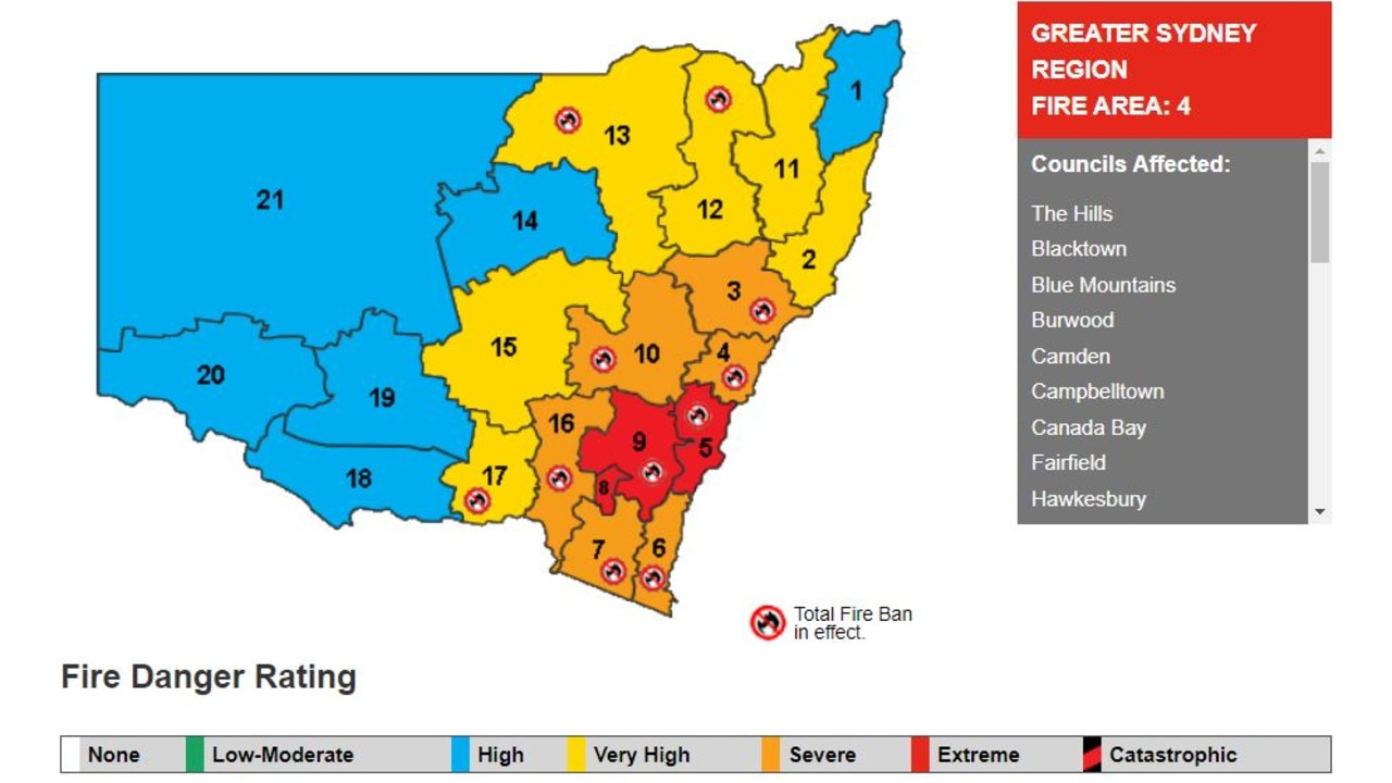 The fire danger ratings across NSW including total fire ban areas on December 31, 2019. Picture: NSW RFS