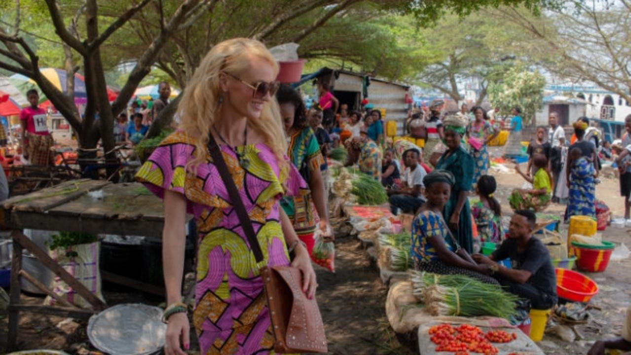 Melissa Inkster at a market in Kisangani during her six months stuck in central Africa.