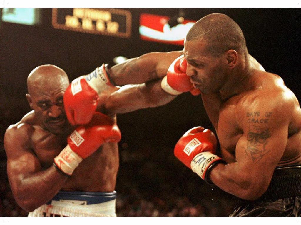 WBA heavyweight champion Evander Holyfield and challenger Mike Tyson.